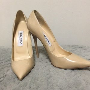 Jimmy Choo Romy pumps - nude patent leather!